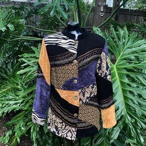 Vintage Indigo Moon Zebra/Floral Patchwork Jacket